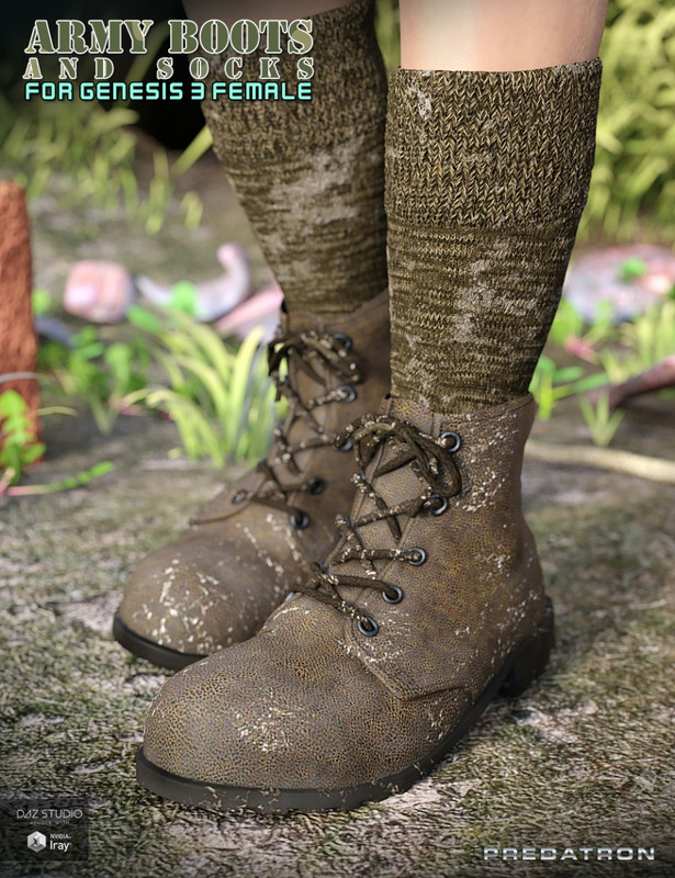 Army Boots and Socks for Genesis 3 Female(s)